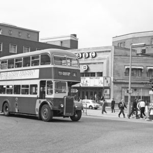 ABC Cinema and traffic at Exeter London Inn Square 1971